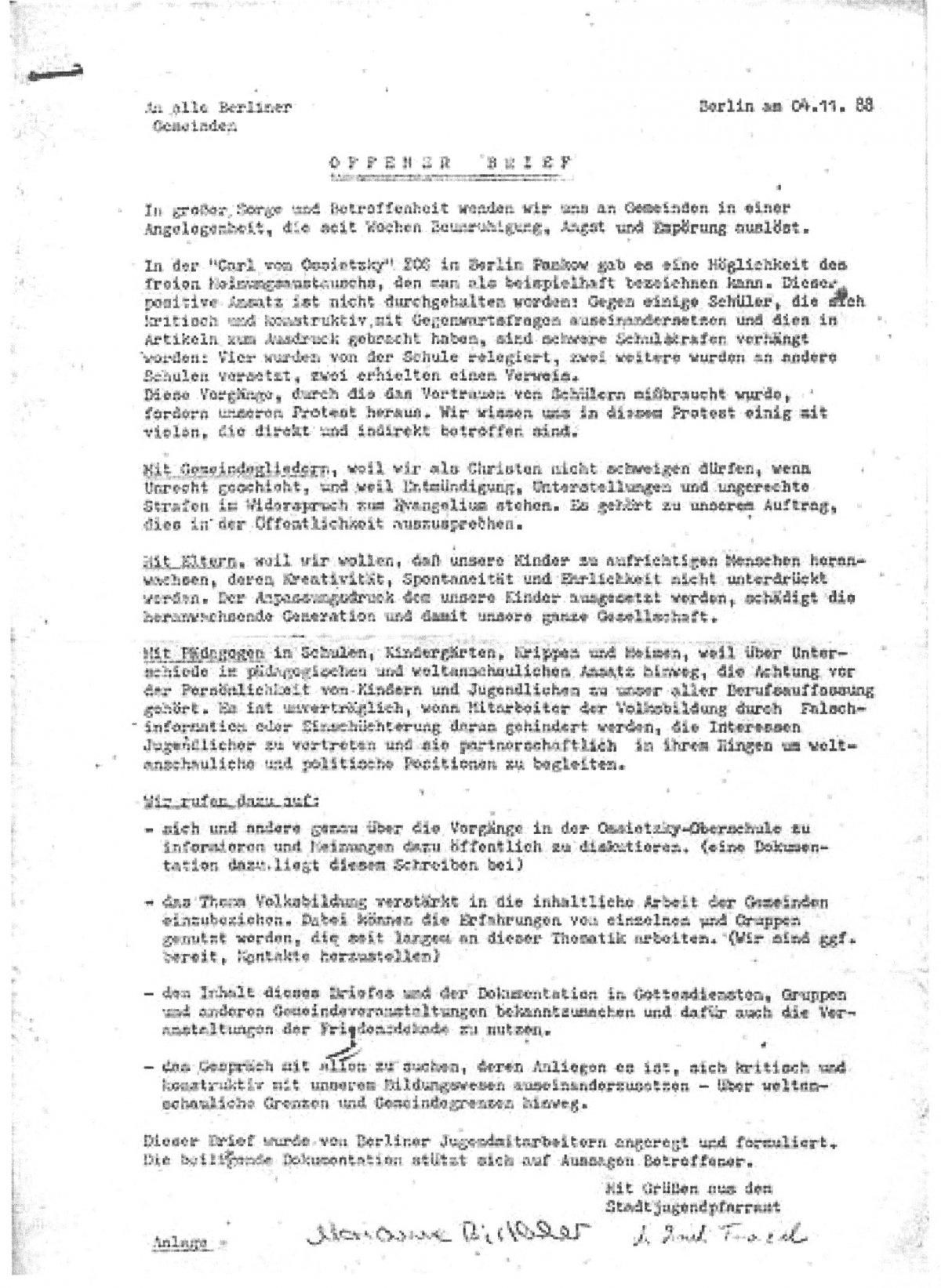 Ereignisse An Der Berliner Ossietzky Schule Jugendopposition In