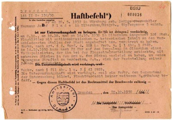 Der Haftbefehl Gegen Hermann Joseph Flade Oktober 1950